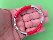 STERLING SILVER Red Enamel Signed .925 Milor Hinged Hollow Oval Bangle Bracelet