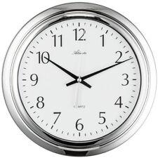 NEU 30 cm große Badezimmer Uhr Atlanta Wanduhr rund Chrom/Weiß wassergeschützt