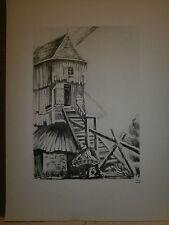 Gravure moulin a vent par P. Valade Moulin de Saint Maxent (Somme) année 1630
