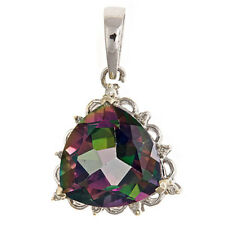 Mystic Topaz  Pendant 12mm 14k White Gold