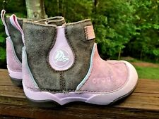CROCS Suede Leather PINK / BROWN Hi Tops Boots Chukka Girls Shoes Size Toddler 8