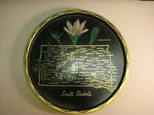 South Dakota Tin Souvenir Plate - Toleware with State Map and Landmarks
