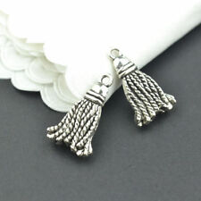 New 25PCS 20x12MM metal vintage silver tassel charms pendants for jewelry making