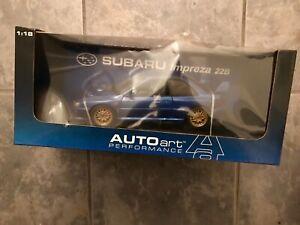 AUTOART Subaru Impreza Blue 22B 1/18 scale Rare Discontinued Model Collectors
