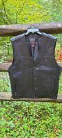 DANIEL SMART Men's Black Leather Snap Down Biker Motorcycle Vest Size 3XL