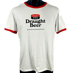 Men's WEST END T shirt size XL Draft Beer S/S white 100% cotton red accents