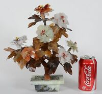 19/20C Antique or Vintage Chinese Jade or Hardstone Tree in Jade Planter