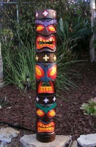 "Tiki Totem Tongue 3 face Tribal Wood Wall Mask Patio Tropical Bar Decor 40"" #2"