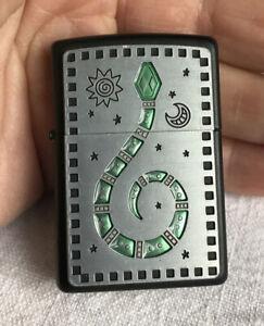 2003 Genuine Zippo Lighter. Green Snake Moon And Stars. Black Matt Finish VGC