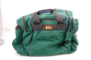 Vintage REI large duffle bag, large Ski boot pockets Green & Purple canvas