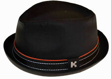 Upturn Diamond Crown Pork Pie Fedora-100% cotton-black-xlarge