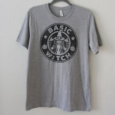 Basic Witch Gray Halloween Starbucks Logo Inspired T-shirt - Size Women's Large