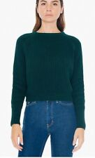 American Apparel Cropped Fisherman Pullover Knit Sweater Dark Sage Forest Small