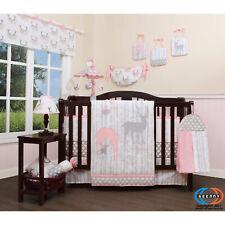 Nursery Crib Bedding Set 13 Piece Pink Baby Girl Floral Grey Deer Forest Quilt