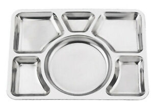 6 Compartment Stainless Steel Food Serving Dish Indian Large Thali Dinner Plate