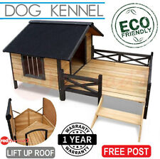 Dog Kennel Puppy House Timber Deck Wooden Cabin Bed Patio Wood Black Trim XL ECO