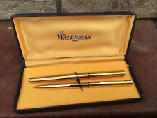 Vintage WATERMAN  Fountain pen in gold with 18K GOLD NIB and ballpoint pen Set