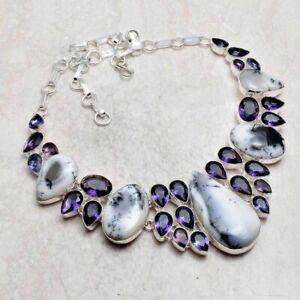 Dendrite Opal Amethyst Handmade Big Necklace Jewelry 77 Gms LBN 5566