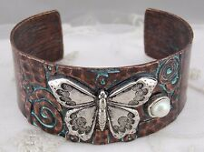 Copper Green Silver Butterfly Cuff Bracelet Pearl Fashion Jewelry NEW