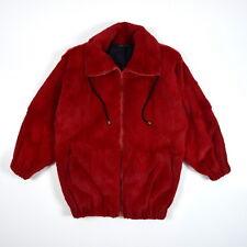Vtg Soft Red Plush Rabbit Fur Oversized Collar 90's Retro Coat Jacket Womens M