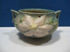 Vintage Roseville Pottery Hanging Basket / Pot, Clematis Pattern - Green / White