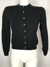 Brooks Brothers women's black extra fine merino wool cardigan sweater Medium