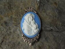 *VIRGIN MARY AND BABY JESUS CAMEO BROOCH- PIN - MOTHER MARY -MOTHER BABY -UNIQUE