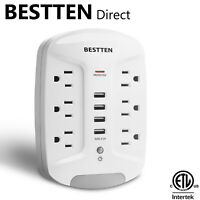 6 Outlet 1080J Surge Protector Wall Outlet w/ 4 USB Ports & LED Night Light ETL