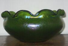 LOETZ IRIDESCENT GLASS BOWL LIGHT PEACOCK GREEN SPOTTING