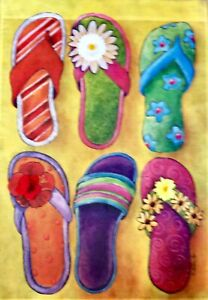 "FLIP FLOPS New Large  EMBELLISHED W/ FLOWERS Decorative House Flag  28""x40"""