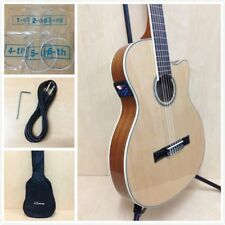 4/4 Caraya 551BCEQ/N Thin-Body Classical Guitar w/Truss Rod,EQ,Tuner+Free Bag