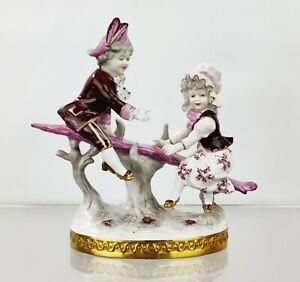 Volkstedt Pink & White Porcelain Figurine Boy Girl Seesaw China Germany Dresden