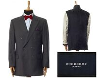 Mens BURBERRY Blazer Coat Jacket Double Breasted Wool Striped Grey Size 44 54