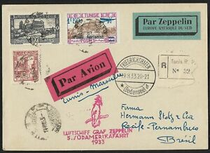 ZEPPELIN TUNISIA TO BRAZIL AIR MAIL COVER 5.SAF 1933