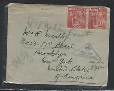 MALTA COVER (PP1211B) 1941 KGVI 1 1/2DX2 ON CENSOR COVER TO USA PATRIOTIC LABEL