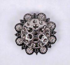 """Set of 5 WESTERN HORSE SADDLE TACK 1-3/8"""" Bright Silver BERRY CONCHOS screw back"""
