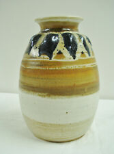 """Holley Hill Florida Studio Pottery 8"""" Vase Stokes Signed Blue Brown Earthtones"""