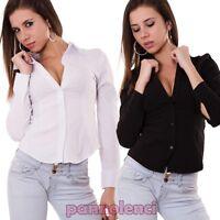 Camicia Donna Slim Fit Manica Lunga Camicetta Blusa Aderente Cotone Casual C8003