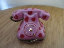 Limoges France Telephone Pink Red Hearts Trinket Box Handpainted Signed *Rare*