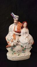 "ANTIQUE STAFFORDSHIRE  FIGURINE MAN & WOMAN WITH CLOCK 14"" TALL"