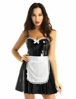 Sexy Women's Maid Dress Maidservant Costume Cosplay Fancy Dress Leather Outfit