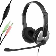 Durherm Computer PC Laptop Notebook Headphone Headset with Flexible Microphone