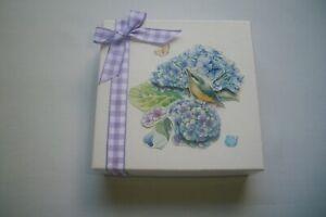 "Hand Decorated  Flowers, Bird & Purple Bow"" Jewelry/Gift Card Box, Holder"