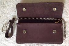 USA MADE Real Cowhide - BROWN - Leather Trucker Biker Chain Wallet Inside Zipper