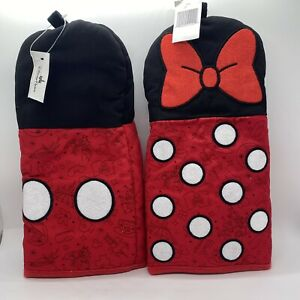 Set Of 2 Mickey And Minnie Mouse Pot Holder Mittens Disney Parks Exclusive