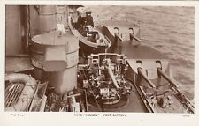 "Royal Navy Real Photo Postcard. HMS ""Nelson"" Battleship. Port Battery. 1928"