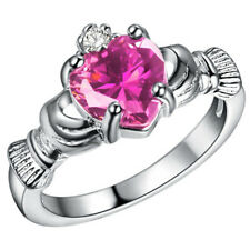Fashion 925 Silver Pink Sapphire Crown Wedding Engagement Claddagh Ring Size 10
