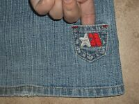 MECCA FEMME JEANS 9/10 JR WOMENS STAR TINY POCKET UNIQUE EMBROIDERED FLARE CUTE