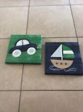 Kids line Wall Art frames boat and car green/blue Cambridge bedding collection