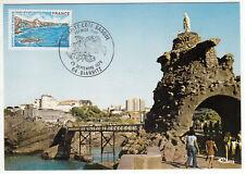 CARTE MAXIMUM FDC 1976 TIMBRE N° 1903 BIARRITZ COTE BASQUE  ROCHER DE LA VIERGE